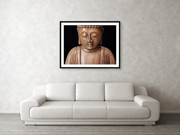 The photographic image of the Buddha in the living room