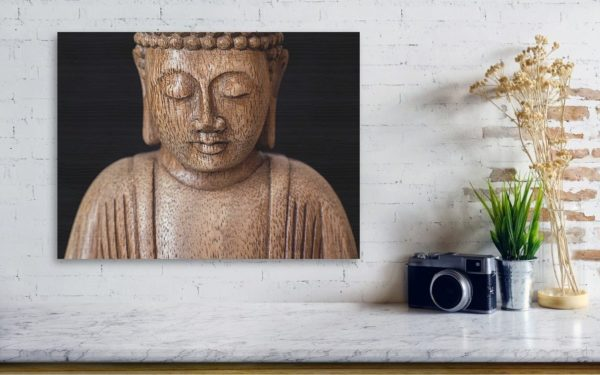 Art print of The Buddha image on the wooden board.