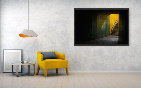 Dark Underpass - Canvas print with wooden frame 122cm x 81cm