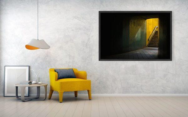 Temný podchod v Praze - Minimalistický fotoobraz na stěnu, 122cm x 81cm