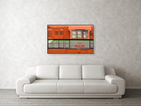 Oranžová lokomotiva - Minimalistický fotoobraz na stěnu