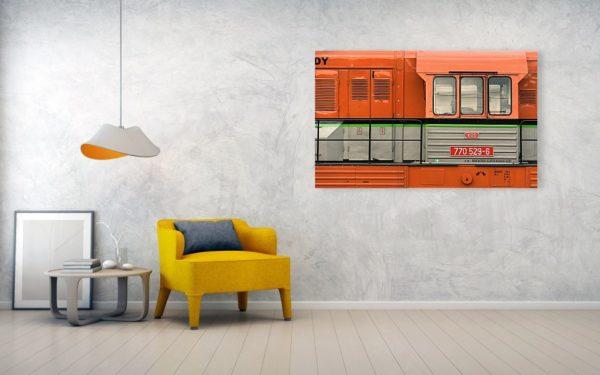Oranžová lokomotiva - Minimalistický fotoobraz na stěnu - Akrylová deska 152cm x 94cm