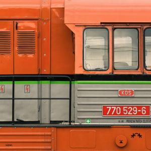 Orange Locomotive – Fine Art Photography Print by Martin Vorel