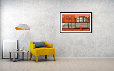 102cm x 63cm Oranžová lokomotiva - Minimalistický fotoobraz na stěnu