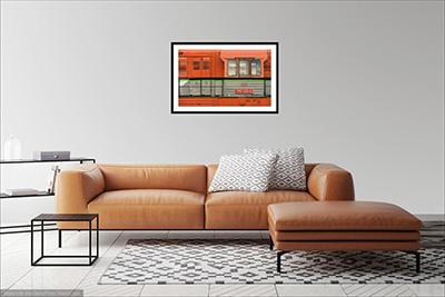 91cm x 56cm Oranžová lokomotiva - Minimalistický fotoobraz na stěnu