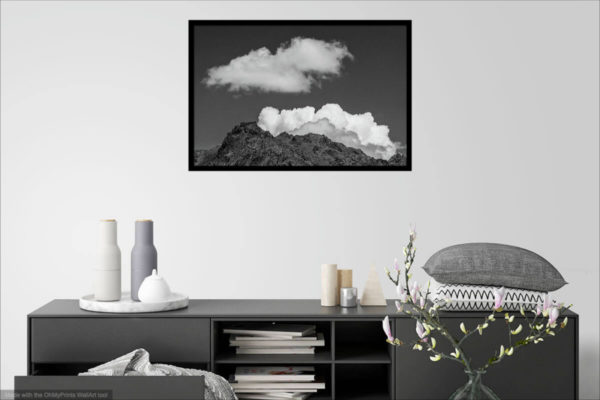 Clouds and rock on black and white Fine art phtogryphy print - room visualisation