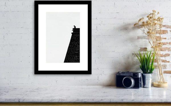 Man on the Wall - Minimalist B&W Fine Art Photography - Visualization