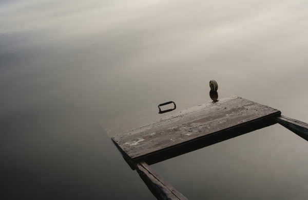 Sunken Punt On Minimalist Photograph