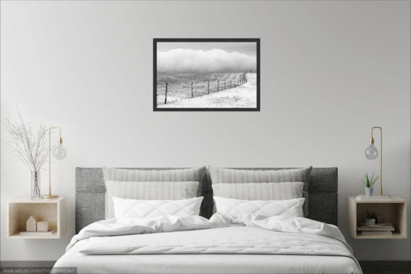The undulating pasture fence - landscape minimalist print visualization