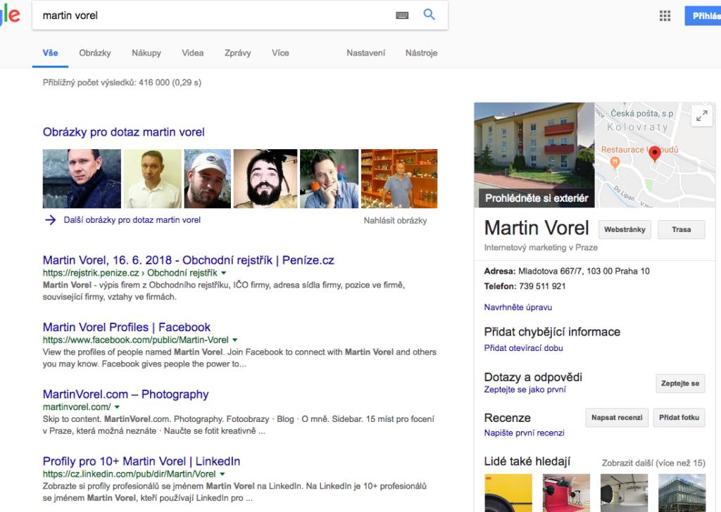 Google Moje firma umožní při vyhledávání vašeho jména zobrazit ve výsledcích i přehledný panel mapou, kontakty, fotkami a dalšími informacemi.