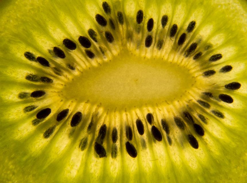 Detailní snímek plátku kiwi