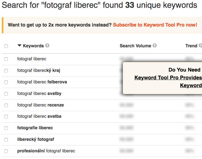 Ukázka hledání klíčových slov pro fotografy