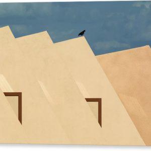 """Minimalistický architektonický fotoobraz """"Hotel v poušti Gobi"""" na plátně"""