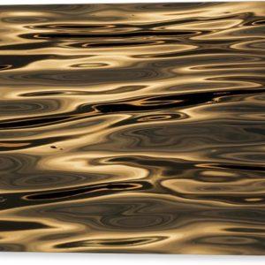"""Minimalistický abstraktní fotoobraz """"Zlatá řeka"""" na plátně"""