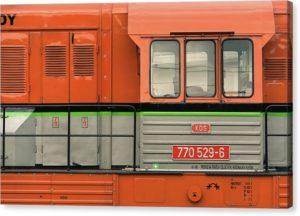 Oranžová lokomotiva - minimalistický fotoobraz - tisk na plátně