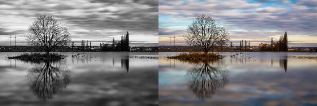 Srovnání černobílé a barevné fotografie