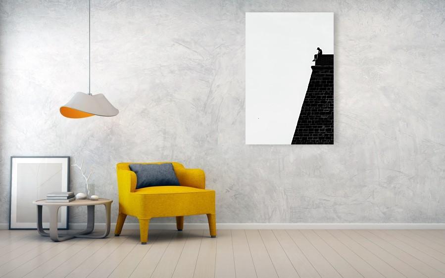 Vizualizace vertikální černobílé fotografie vytištěné na kovové (hliníkové) desce o velikosti 81 x 122 cm.